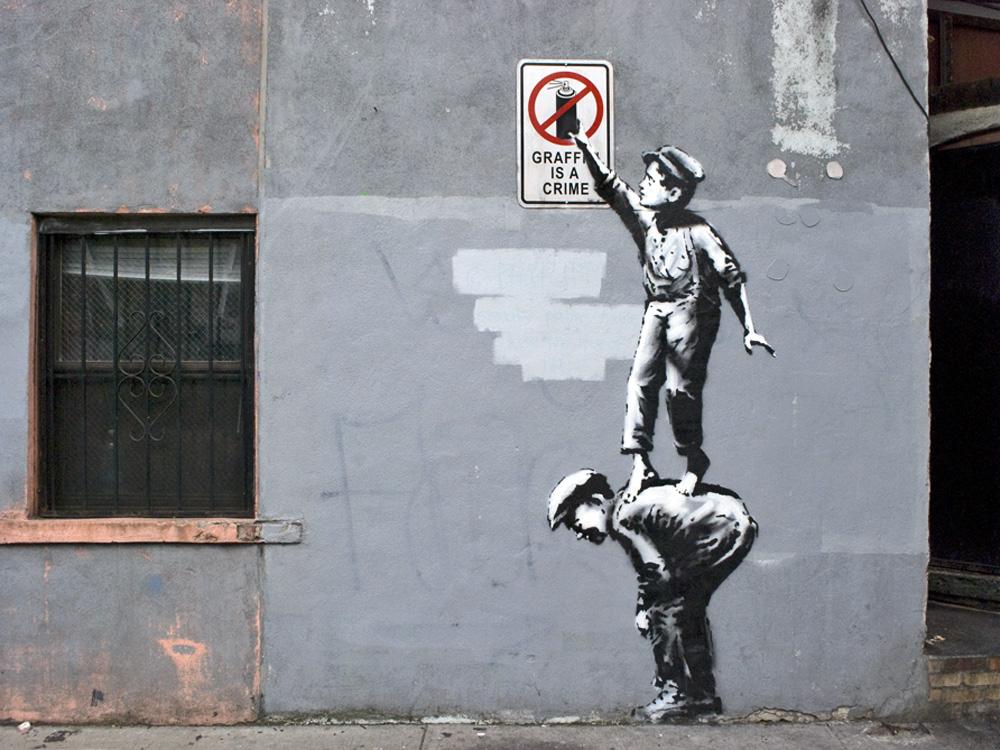 Using stencils ~ Banksy