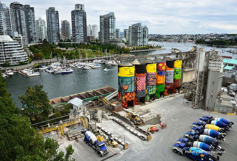 ~ By Os Gemeos ~ Giants on Industrial silos, Vancouver, 2014