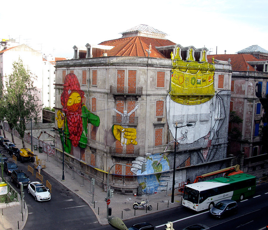 Mural in Lisbon ~ By Os Gêmeos and BLU