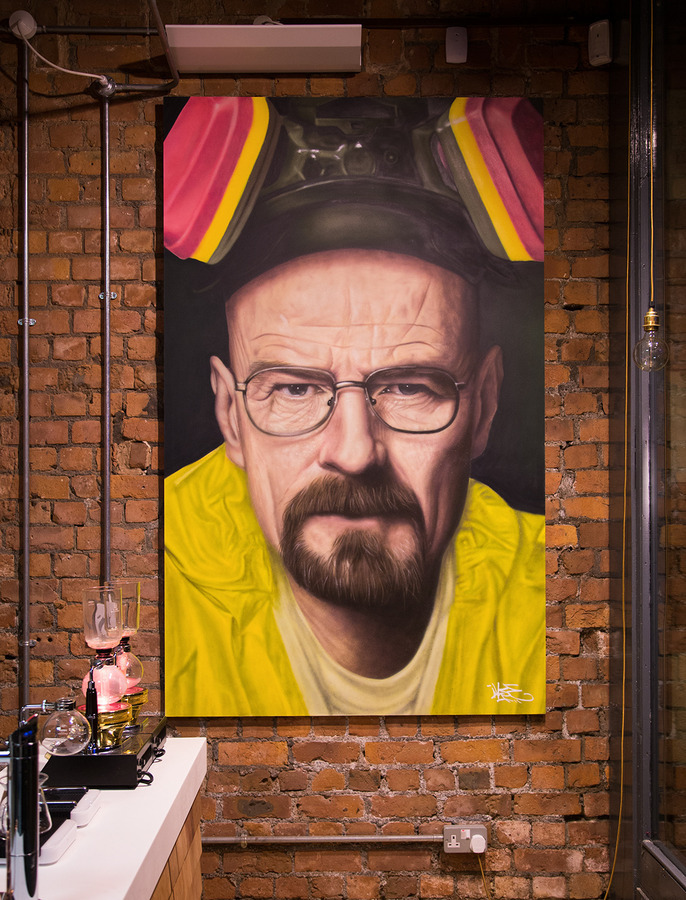 ~ By Akse ~ Heisenberg freehand spraypainted portrait - from globalstreetart