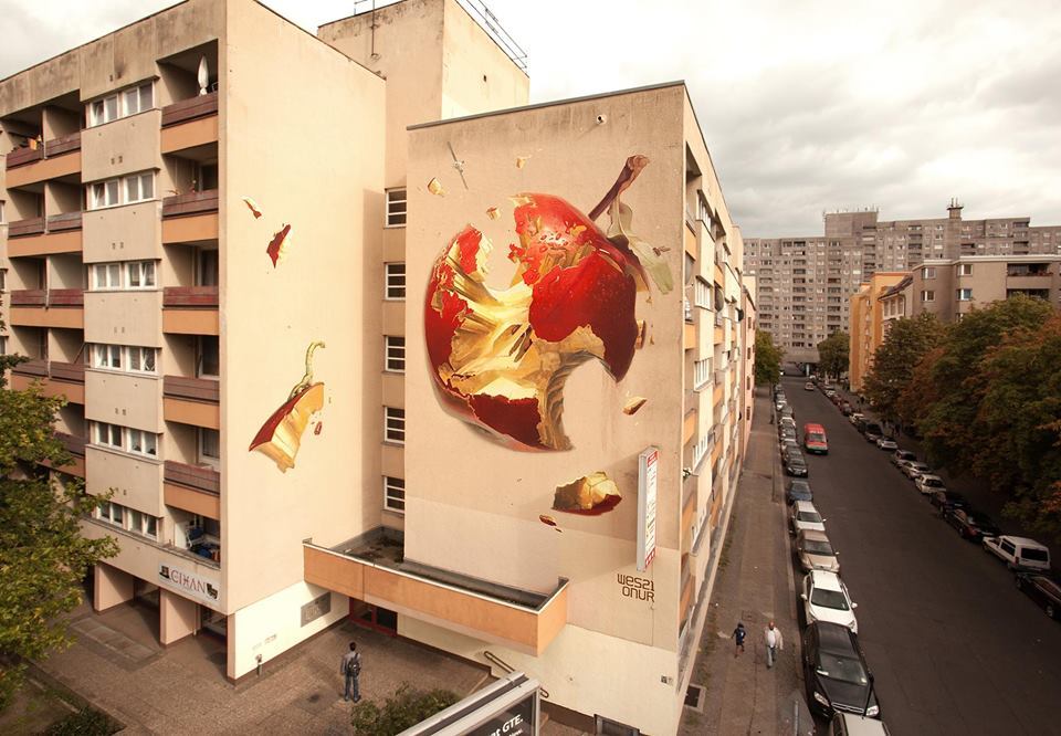 """Sweetest Sin"" ~ By ONUR and West21 ~ For Urban Nation ""One Wall"" project 2015 in Berlin, Kreuzberg - Photo: Onur's FB"