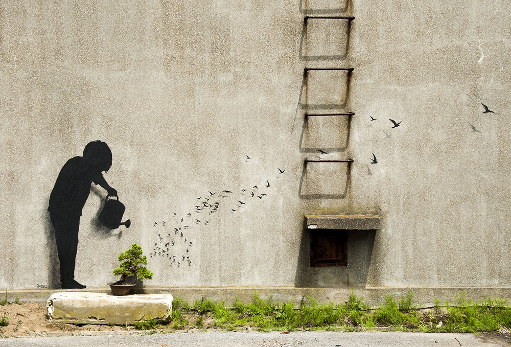 """Gulliver"" ~ By Pejac ~ Tokyo, Japan - From pejac.es"