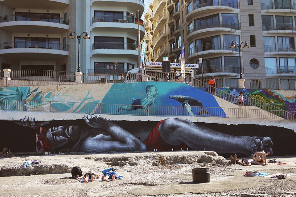 ~ By MTO ~ For Sliema Street Art Festival 2014 -Downtown Sliema, Malta - Photo: MTO's Facebook