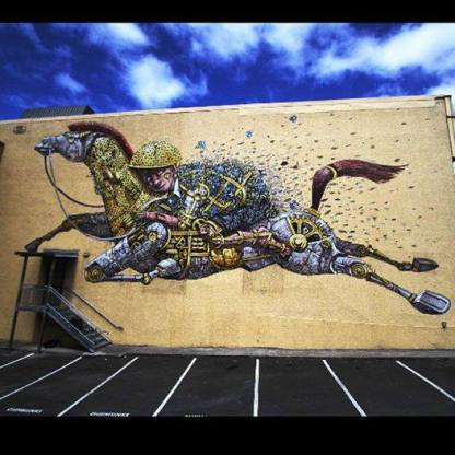 "~ By Pixelpancho ~ ""Riding the dreams"" - Dunedin, NZ - Photo: I Support Street Art's Facebook"
