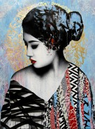 "~ By HUSH ~ ""Affectation"" acrylic paint, screen print, spray paint & ink on linen"