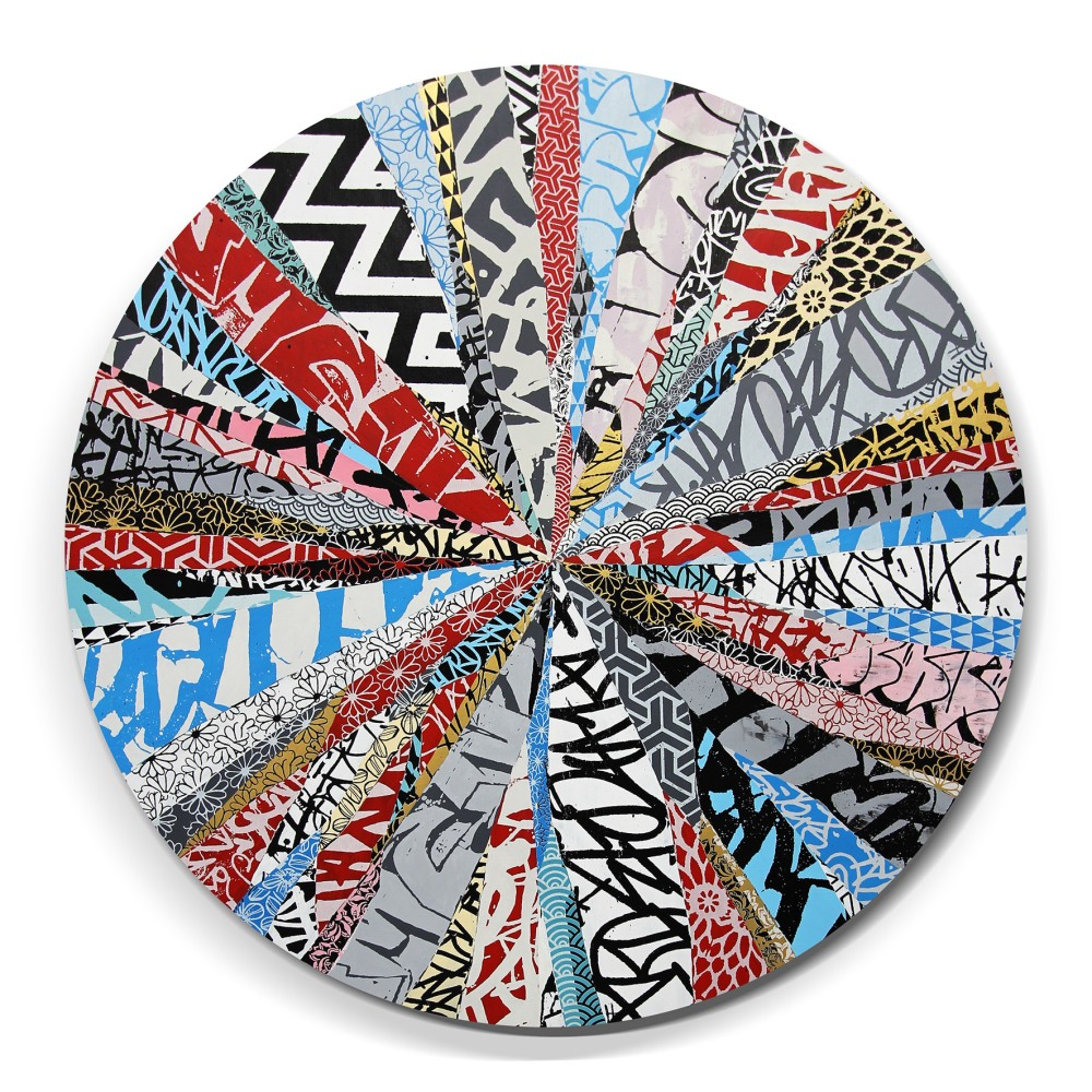 """Blaze"" acrylic paint, screen print, spray paint & ink on linen, 55"" round"