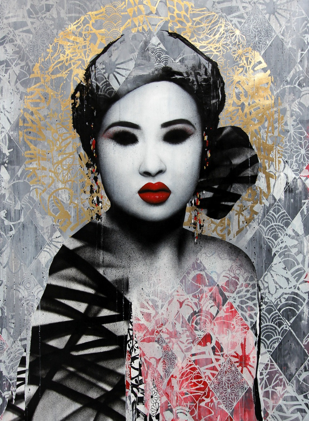 """Masquerade"" acrylic paint, screen print, spray paint, ink & 24 carat gold foil on linen"