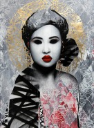 "~ By HUSH ~ ""Masquerade"" acrylic paint, screen print, spray paint, ink & 24 carat gold foil on linen"