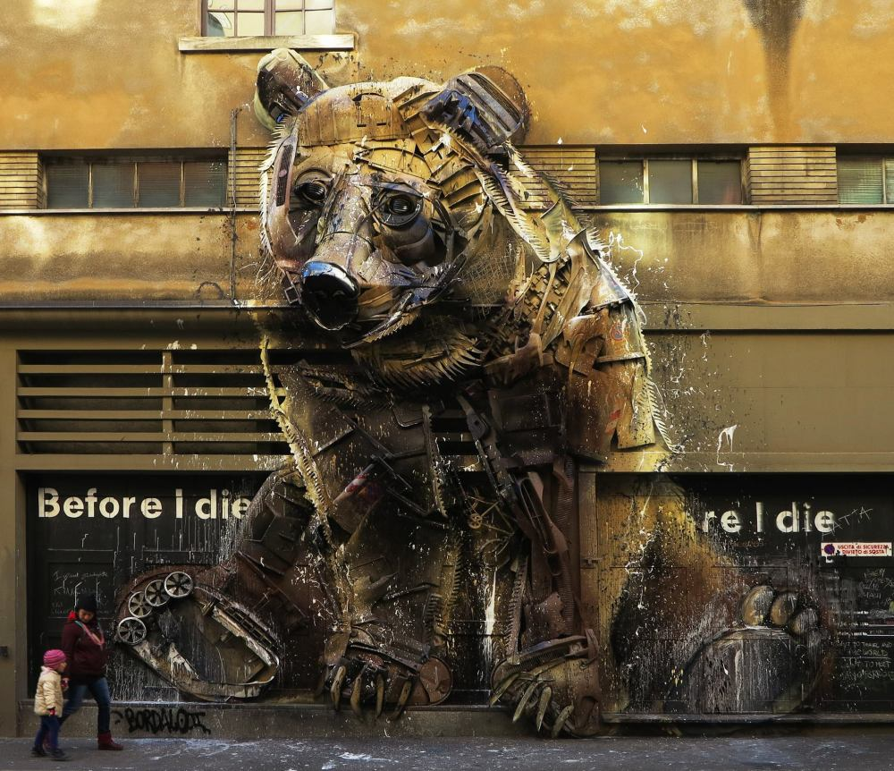 street-art-by-bordalo-ii-in-turin-italy-at-teartrocolosseo-bear